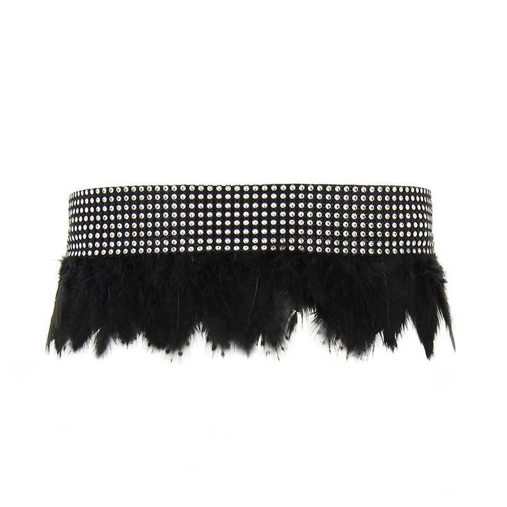 cinturón boho plumas negras y brillantes de ElTallerdeMisNubes en Etsy