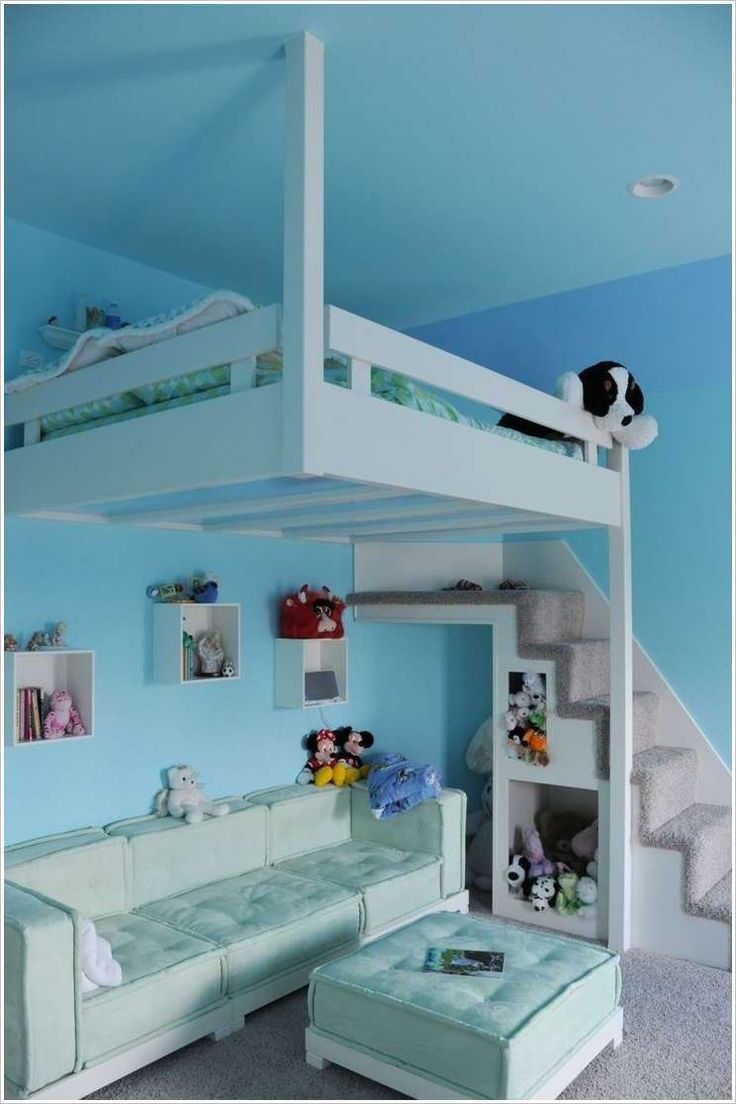 A Hanging Bed with Sitting Space Underneath