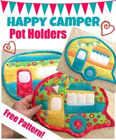 More Happy Camper Pot Holders- free pattern!