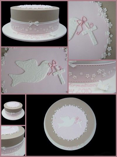 confirmation cake with white dove and blossoms inspired by michelle cake designs