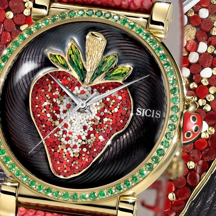 Only with our micromosaic, diamonds and sapphires you can have such a stunning result. This strawberry is too juicy... see more of our watches.