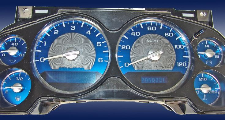 Chevrolet Tahoe 2007-2009 Mph All Models Aqua Edition Gauges With White Numbers