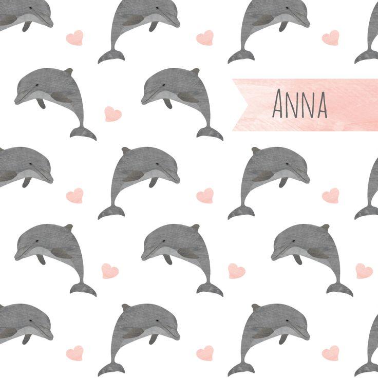 Lief geboortekaartje voor een dochter met patroon van springende dolfijntjes en zachtroze hartjes, verkrijgbaar bij #kaartje2go voor €1,99