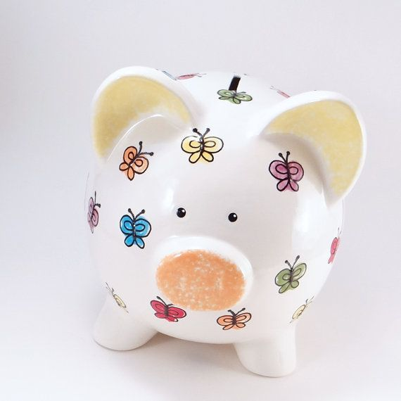 Bright Butterfly Piggy Bank Butterfly Ceramic Bank by ThePigPen
