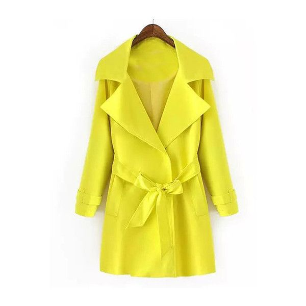 Neon Yellow Lapel Tie-Waist Trench Coat (£39) ❤ liked on Polyvore featuring outerwear, coats, trench coat, yellow coat, yellow trench coat and lapel coat