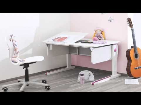 Moll Champion Adjustable Kids Desk  Booth 6937 Ergonomically designed for comfort, the Champion Kids Adjustable Desk from Moll grows with your child. The desktop tilts to a comfortable angle for reading, writing and drawing. A yo-yo style pulley system raises or lowers the desk to the perfect level. This is the only desk your child will need.