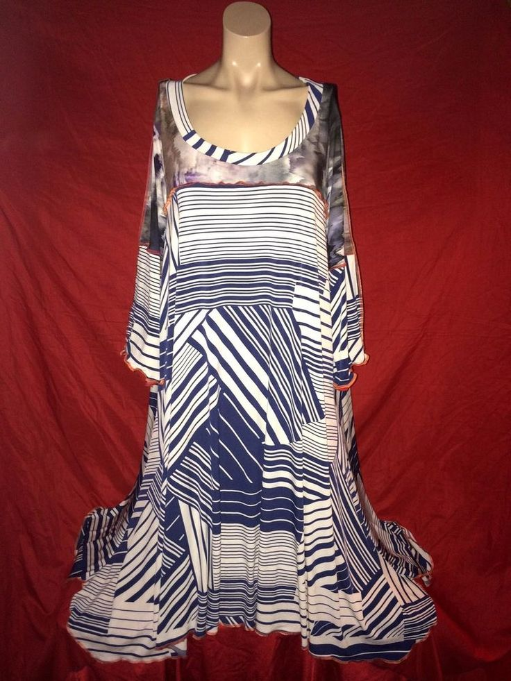 LOVELY QUIRKY NAUTICAL TIE & DYE LAGENLOOK Dress Smock Tunic Top 30 32 34