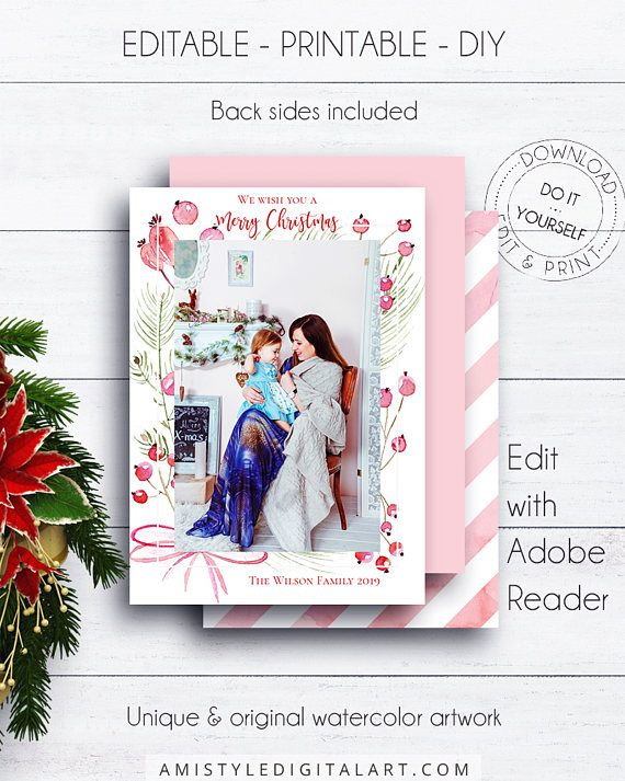 Editable Photo Christmas Card, with beautiful watercolor Christmas design in a boho and rustic style.This Christmas photo card template listing is for an instant download EDITABLE PDF so you can download it right away, DIY edit and print it at home or at your local copy shop by Amistyle Digital Art on Etsy