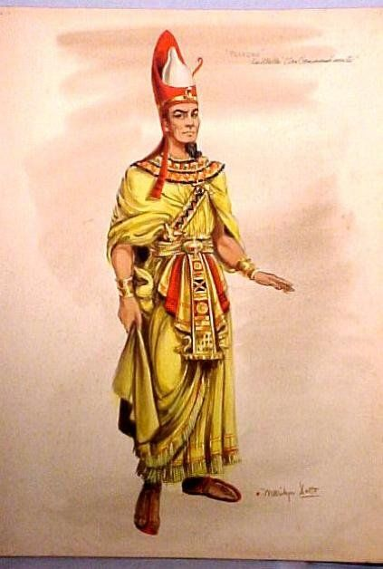 """Original Edith Head Hollywood design sketch by Marilyn Sotto. From Cecil B. Demille's """"The Ten Commandments"""""""