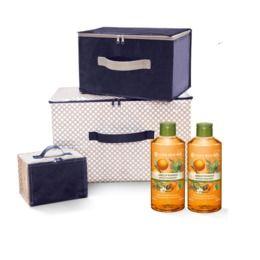 2 x Gel de duș nectar Caisă & Rozmarin + Set 3 cutii de depozitare