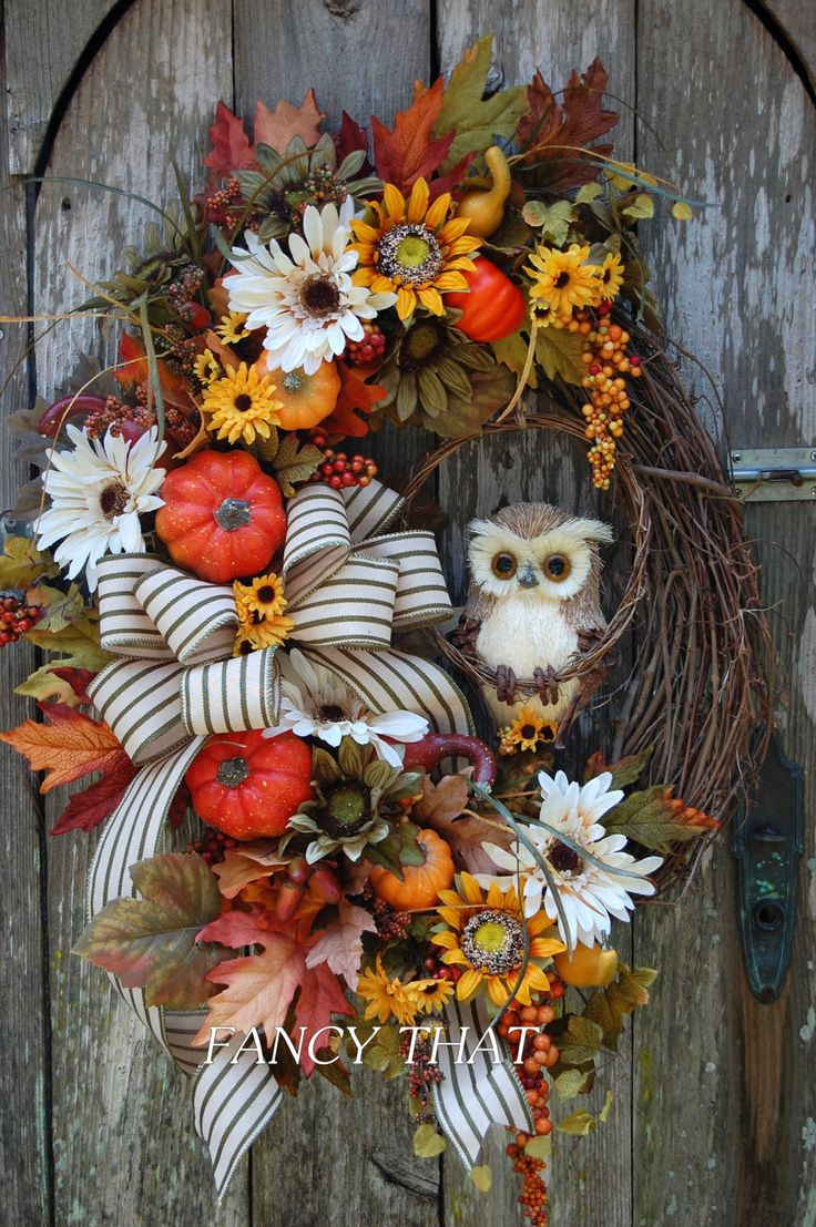 A personal favorite from my Etsy shop https://www.etsy.com/listing/247298438/fall-owl-wreath-fall-grapevine-wreath