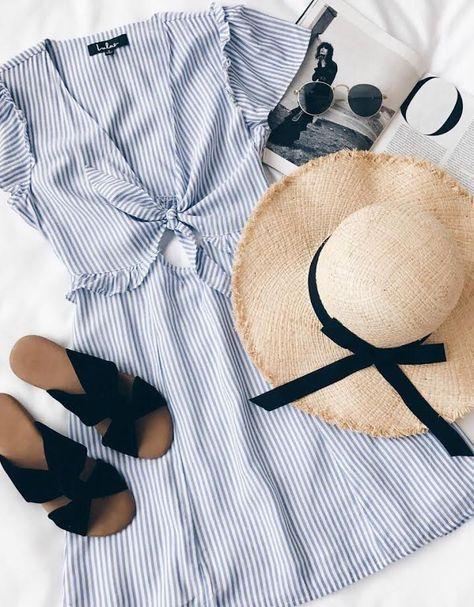 stripe dress and straw hat