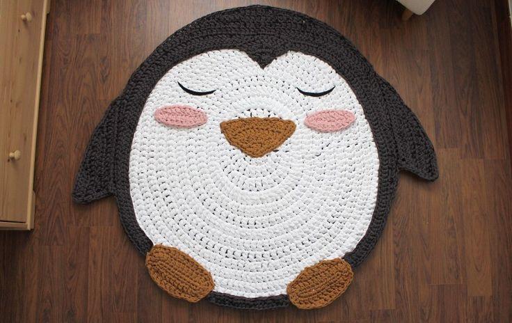 Alfombra pingüino de trapillo XXL - MissDIY