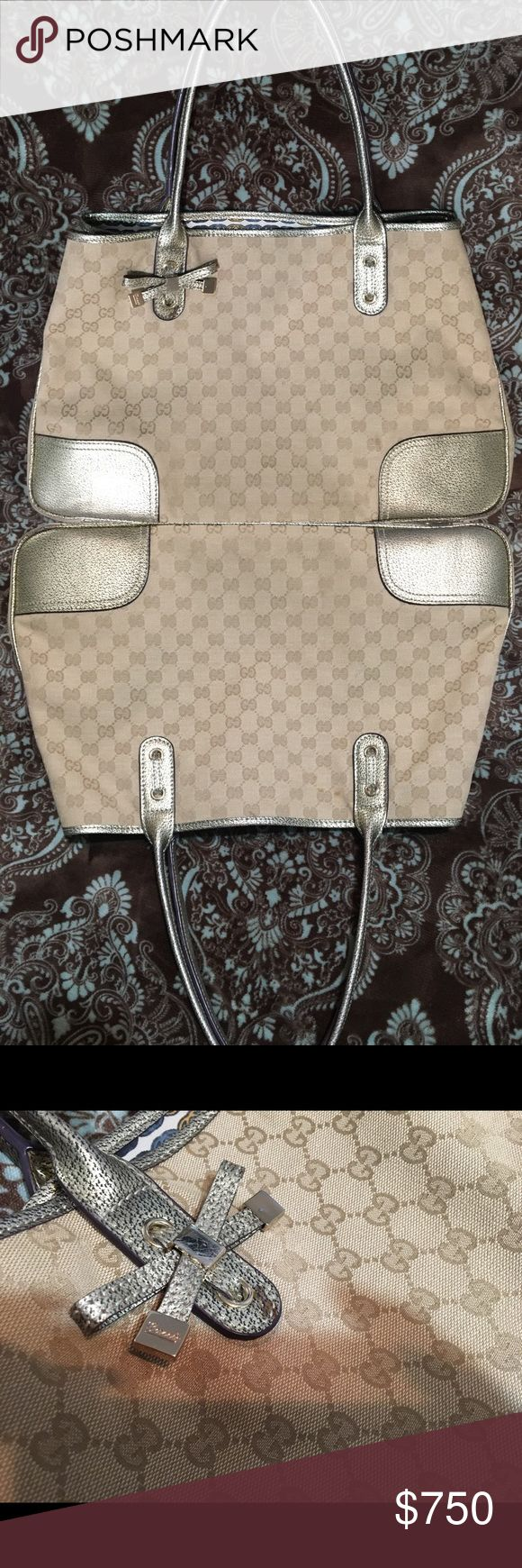 """GUCCI Princy Large Sized Tote in gold canvas bow This is one of my all time favorite bags love it and she's still in such amazing shape! Condition is well defined in pics there's a small spotted stain on the gold bow that I cannot recall what from :/ other than that she looks fabulous! 11""""18""""5.5""""and 9""""drop double handles, 4 metal feet model numbers hard to make out but it's 161719 Gucci Bags Totes"""
