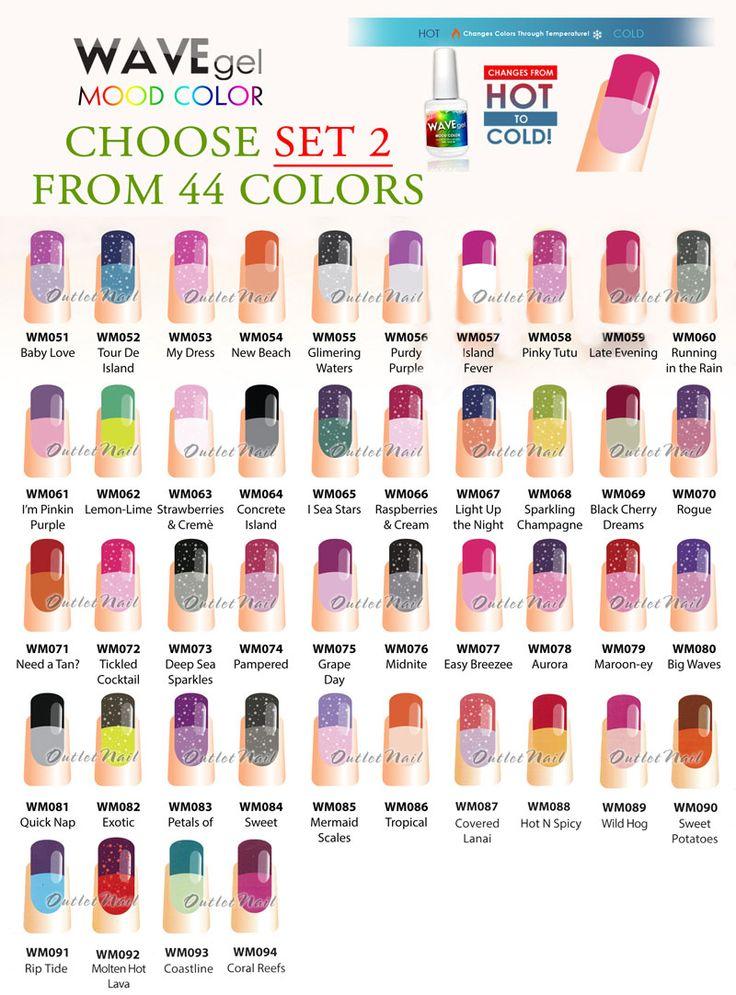 WAVEGEL WAVE GEL MOOD Color SET 2 Changing Gel Polish Collection Kit Lot
