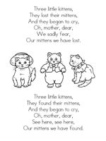Three Little Kittens and other nursery rhyme printables.  FREE
