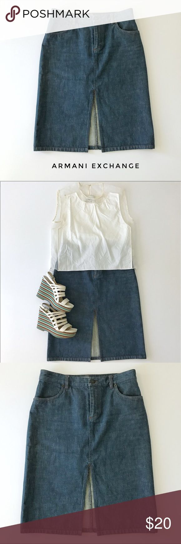 """Armani Exchange denim skirt, size 4 Blue denim pencil skirt with slit in front from Armani Exchange. Tailored fit, knee-length, classic casual style.  🍈 Size 4 - waist 30"""", hips 36"""", length 24"""" 🍈 Condition: excellent (worn once) 🍈 Material: 100% cotton A/X Armani Exchange Skirts Pencil"""
