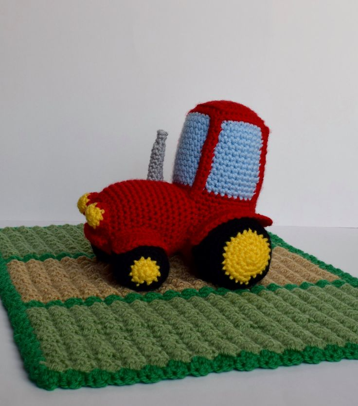 Crochet Red Tractor Lovey/Security Blanket Crochet Red Tractor Amigurumi Toy Crochet Country Farm Blanket Green Field Tractor Bedding by PawsitivelyCrafty on Etsy