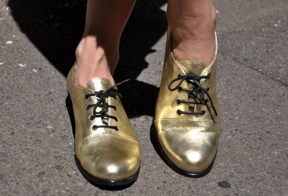 Mariachi  Gold Oxfords Leather Oxfords for Women Handmade