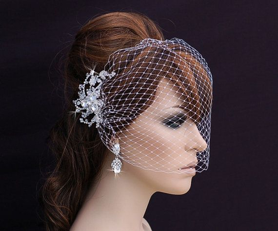 SALE  Birdcage Veil and Crystal Comb  Bird Cage by EleganceByKate, $69.00