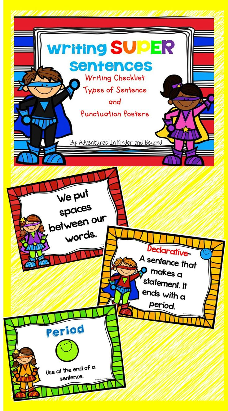 This set has 3 types of posters to help your beginning writers remember what they need to do to create SUPER sentences. Using a cute superhero theme these colorful posters are sure to make your students writing soar! Included are -How to write SUPER sentences -4 different types of sentences -Punctuation posters -Writing checklist to keep by students desks