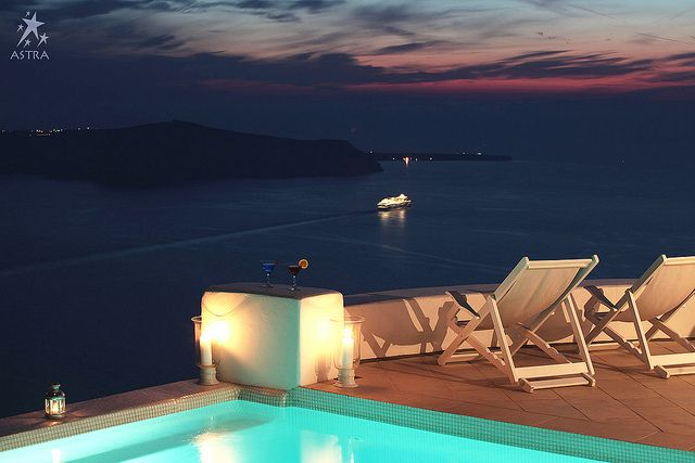 Relaxing moments by the pool -Astra Suites, Imerovigli, Santorini, Greece