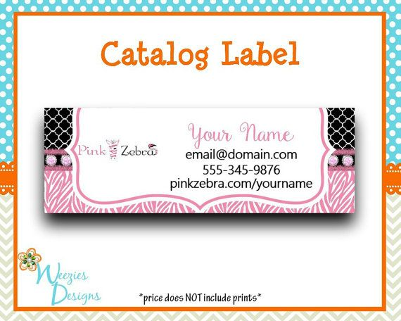 PInk Zebra Catalog label Direct Sales Marketing by WeeziesDesigns
