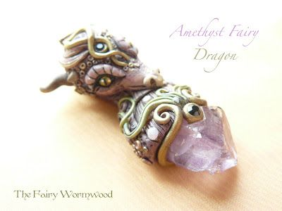 Dragon made of polymer clay and hand painted with the tip of Amethyst.  Pendant size 6.5 cm