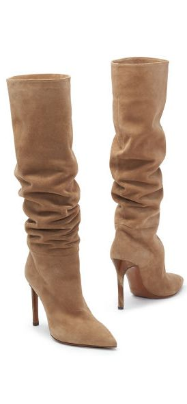 Suede Pointed-Toe Ralph Lauren Boot: With an elegant faux-horn heel,