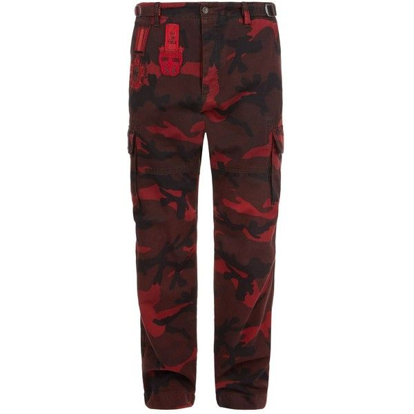 Valentino Camouflage Cargo Trousers (£1,050) ❤ liked on Polyvore featuring men's fashion, men's clothing, men's pants, men's casual pants, mens camo pants, mens camouflage cargo pants, men's cotton twill pants, mens cargo pants and mens camo cargo pants