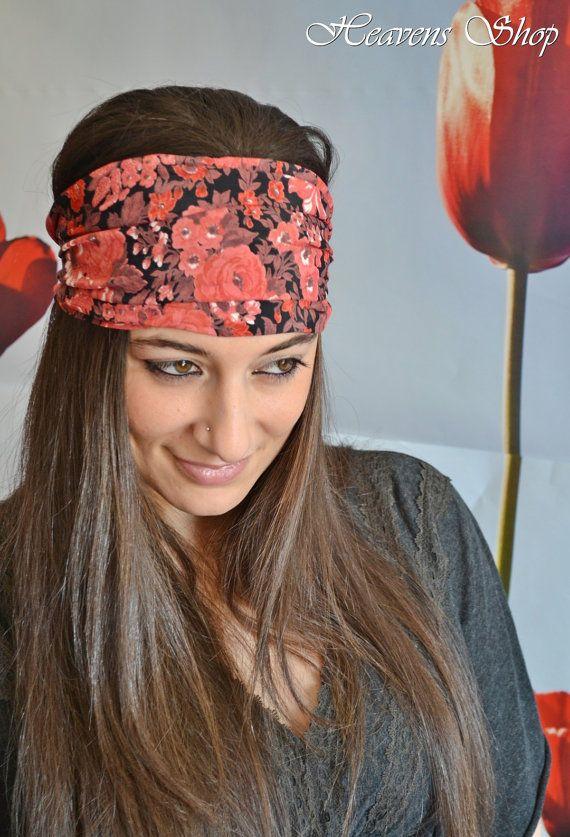 Red and Black Romantic Headband Flower Headband by HeavensShop, €12.00