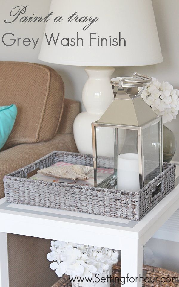 Get on trend and paint a tray with a grey wash finish for a weathered, beach inspired look! It's so easy and quick! @Setting for Four