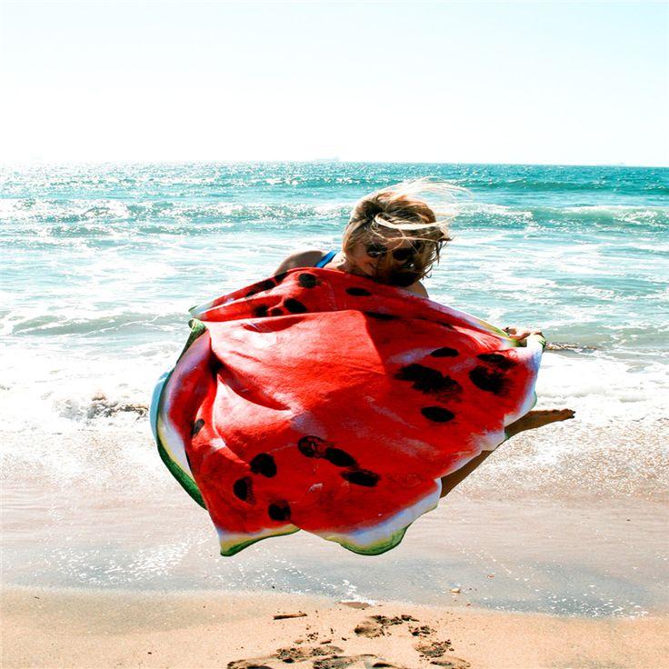 Круглый Пляж Одеяло 160 * 160см Арбуз печати Пляж Спорт Полотенце Toalha De Praia Redonda Дешевые Пляжные полотенца A127