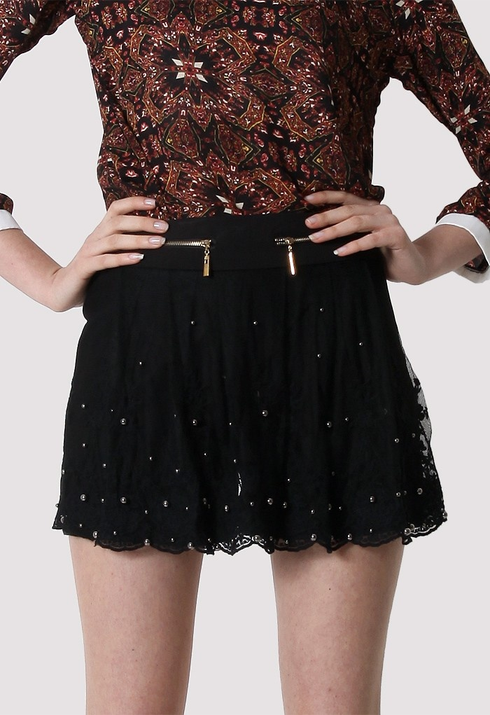Pearl Lace Zip Shorts - $44.90