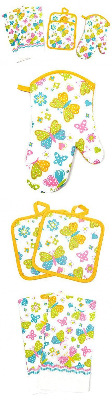 Spring Design 5 Piece Kitchen Linen Set Towels, Pot Holders & Oven Mit (Butterflies)