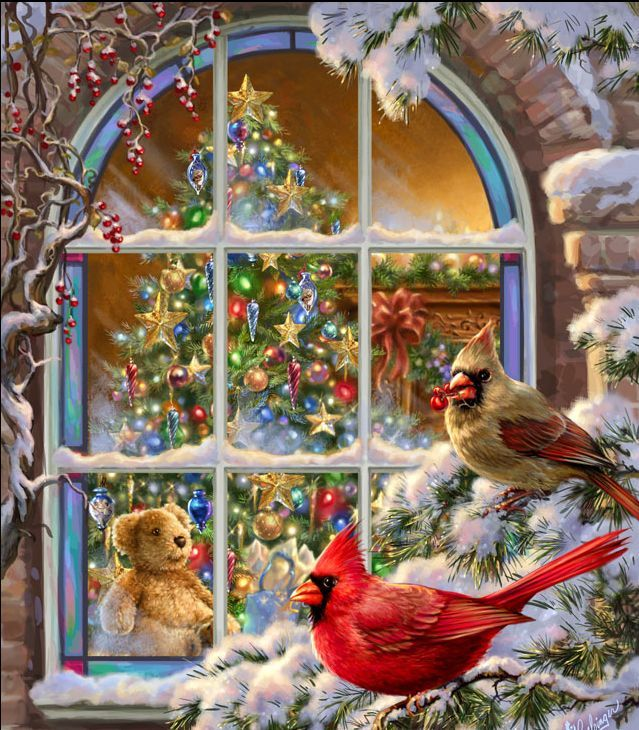 CHRISTMAS TIME:  A TEDDY BEAR WATCHING THE CARDINALS THROUGH THE WINDOW  (GIF).