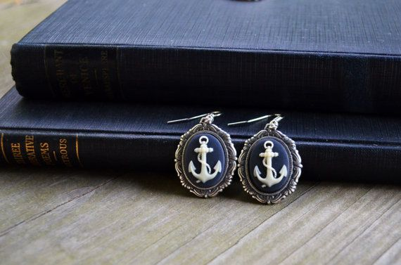 Anchor Earrings - Antique Silver - Navy Blue - Nautical Earrings - Gifts Under 25