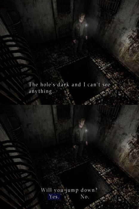 hahahhahah silent hill 2 ~wanna jump down this dark, deep, hole? well i wanna beat the game so i guess i dont have a choice