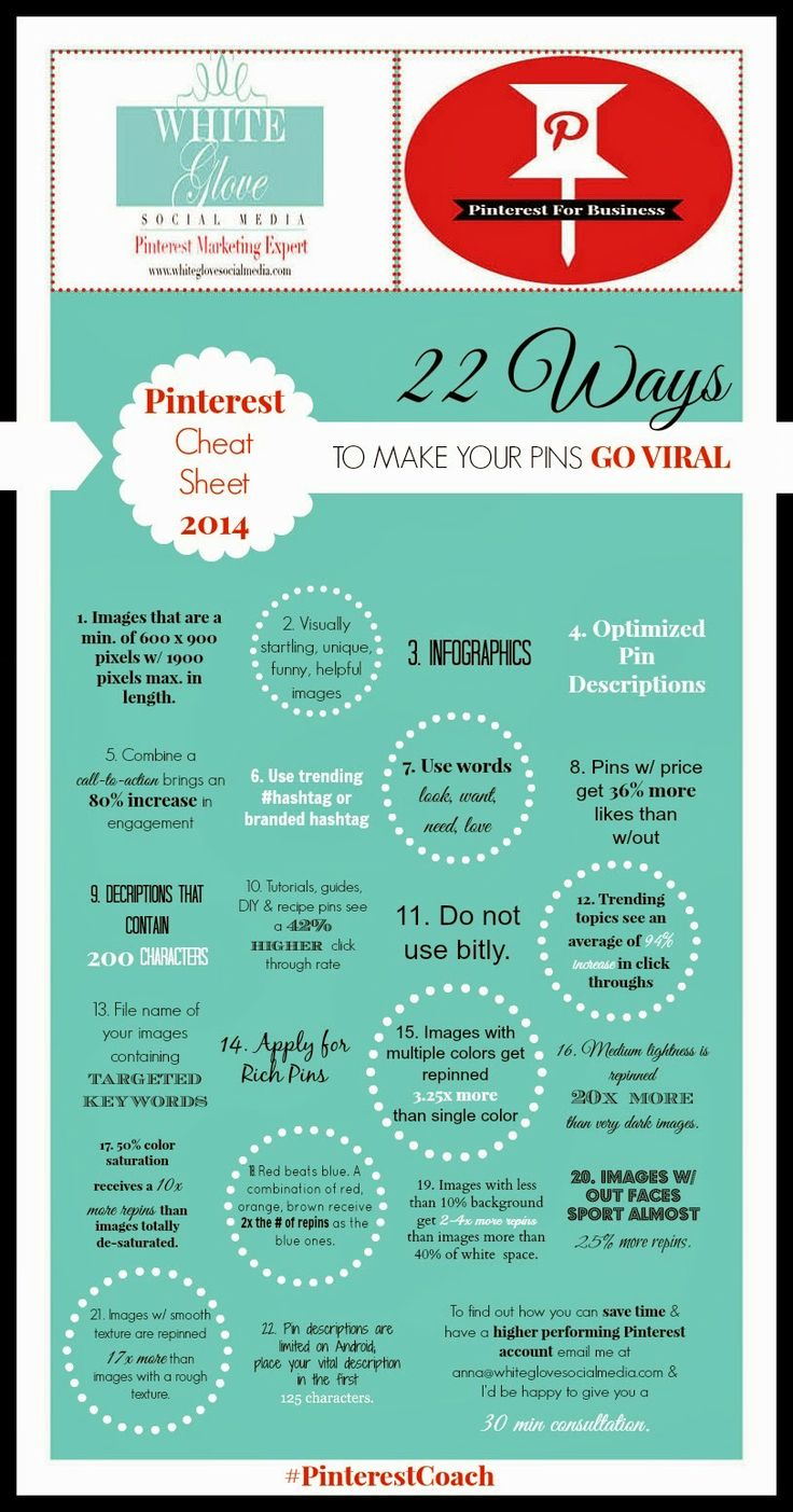 22 Ways To Make Your Pins Go Viral - Pinterest Cheat Sheet 2014 #infographic