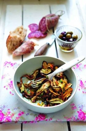 marinated courgette ribbons - uses white balsamic