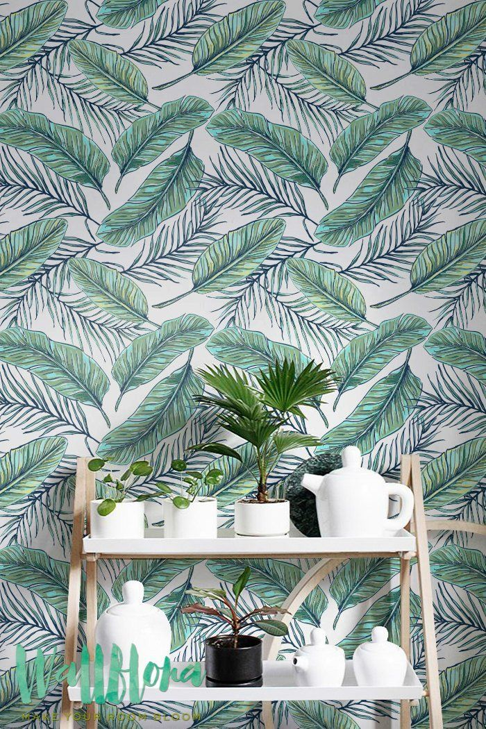 Seamless Tropical Jungle Palm Leaves Pattern - Removable Wallpaper - Tropical Wall Sticker - Palm Leaves Self Adhesive Wallpaper: Amazon.co.uk: DIY & Tools