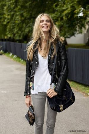 love her styleBlack Leather Jackets, Fashion, Biker Jackets, White Shirts, Outfit, Delevingne Face, Style Icons, Grey Jeans, Rocker Chic