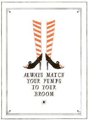 I would likely say, always match your 'boots' to your broom...... and make sure that the color of both is dark.