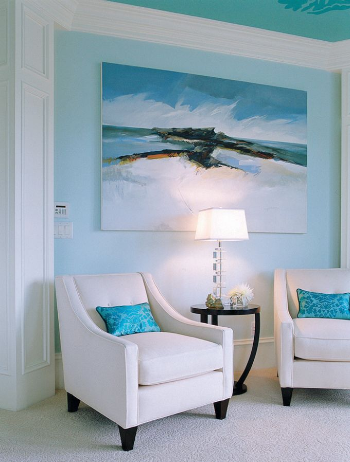 painted ceiling + abstract (has anyone seen chairs like this anywhere? looking for new living room chairs)