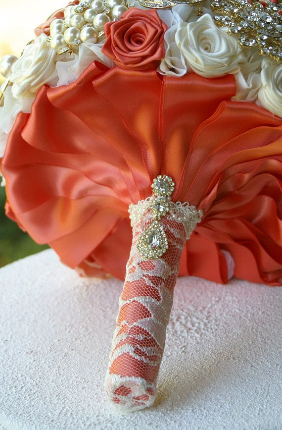 Coral Peach Gold Wedding Brooch Bouquet. Deposit by annasinclair