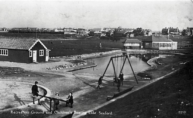 The Salts recreation ground, 1950-60s my father David French was one of the greenkeeper's There mower's were kept each end of the cricket pavillion on the left hand side of the picture, also my mother worked there in a kiosk selling tickets for miniture golf, putting and tennis. (Seaford Town Council)  ( Picture courtesy of Seaford Museum )