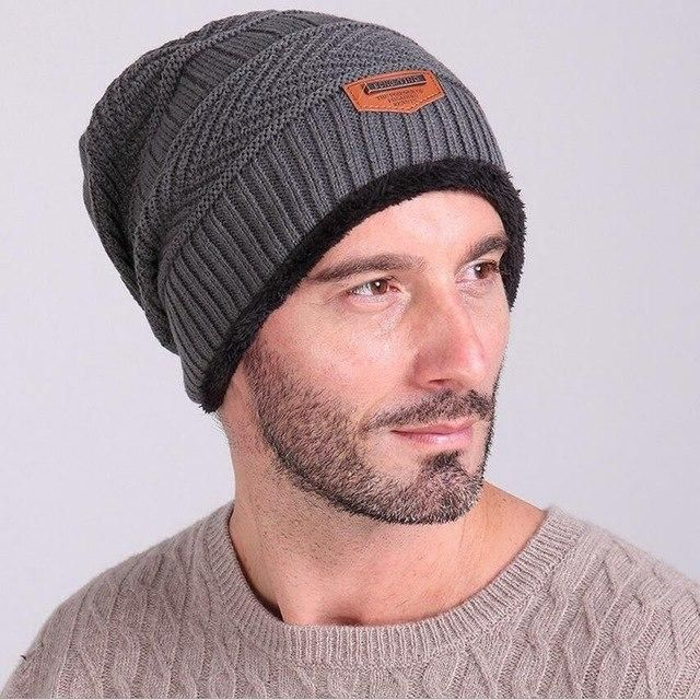 Mens Skullies Winter Knitted Hat Male Beanies Cap Casual Solid Color Sets Headgear Hats