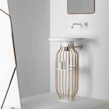 Bowl i kobberrør - Fritstående håndvask i smart nyt design i kobberrør