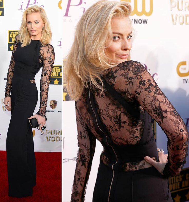 Margot Robbie black jumpsuit 2014 Critics Choice Awards - Elie Saab