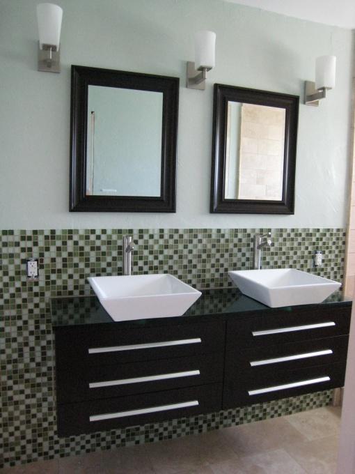 Master Bathroom, Just completed our Master bathroom remodel. , New floating vanity with glass tile backsplash and modern vessel sinks , Bathrooms Design